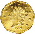 California Fractional Gold: , 1854 50C Liberty Octagonal 50 Cents, BG-305, Low R.4, MS65 NGC. Apleasing Gem from the first issuing period of California ...