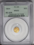 California Fractional Gold: , 1854 50C Liberty Octagonal 50 Cents, BG-306, R.4, MS63 PCGS.Ruby-red tints surround apricot-gold centers. An evenly struck...