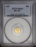 California Fractional Gold: , 1852 50C Liberty Round 50 Cents, BG-401, R.3, MS62 PCGS. A satinyapricot-gold example with unmarked surfaces and a few tin...