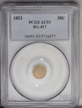 California Fractional Gold: , 1853 50C Liberty Round 50 Cents, BG-417, High R.5, AU53 PCGS. Thisglossy Period One piece has a yellow-gold reverse and la...