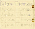 "Autographs:Authors, Dylan Thomas's Son's Penmanship Book, 24 pp., 7"" x 6.25"", ca.1950s. This primary school workbook belonged to Colm Thomas (b...(Total: 1 Item)"