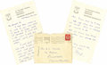"Autographs:Authors, Letters To Dylan Thomas's Mother And Widow, as follows: . AutographLetter Signed, ""Beryl"", three pages, Merioneth, ... (Total:2 Item)"