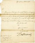 "Autographs:Statesmen, Declaration of Independence and Constitution Signer Robert MorrisLetter Signed, ""Robt Morris,"", one page, n.p.(likely P..."