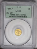 California Fractional Gold: , 1855/4 $1 Liberty Octagonal 1 Dollar, BG-511, High R.4, MS62 PCGS.Rich honey-gold toning dominates, although glimpses of y...