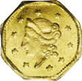 California Fractional Gold: , 1855/4 $1 Liberty Octagonal 1 Dollar, BG-511, High R.4, MS63 PCGS.Among all of the issues of California fractional gold co...