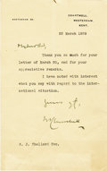 "Autographs:Non-American, Winston Churchill Typed Letter Signed, on his Westerham 93imprinted stationery, one page, 5"" x 8"", March 22, 1939, to anA...."