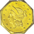 California Fractional Gold: , 1853 $1 Liberty Octagonal 1 Dollar, BG-531, R.4, MS62 PCGS. Aneedle-sharp piece that reveals honey and yellow-gold colors ...