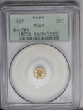 California Fractional Gold: , 1867 25C Liberty Octagonal 25 Cents, BG-709, R.4, MS64 PCGS. Deepolive and yellow-green colors alternate across this crisp...