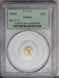 California Fractional Gold: , 1868 25C Liberty Octagonal 25 Cents, BG-711, R.4, MS64 PCGS. Alustrous and beautiful near-Gem with minor striking bluntnes...