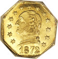 California Fractional Gold: , 1872 25C Washington Octagonal 25 Cents, BG-722, Low R.4, MS66 NGC.A well struck premium Gem with attractive canary-gold co...