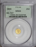 California Fractional Gold: , 1866 25C Liberty Octagonal 25 Cents, BG-737, R.5, MS64 PCGS. Thisis an important opportunity for specialists, as this exam...