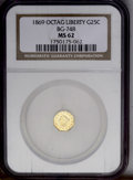 California Fractional Gold: , 1869 25C Liberty Octagonal 25 Cents, BG-748, R.5, MS62 NGC. Alustrous pale-gold private octagonal quarter with a few wispy...