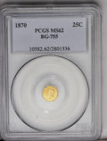 California Fractional Gold: , 1870 25C Liberty Octagonal 25 Cents, BG-755, High R.4, MS62 PCGS. Abright and decidedly prooflike piece that has a sharp s...