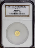 California Fractional Gold: , 1871 25C Liberty Octagonal 25 Cents, BG-767, R.3, MS62 ProoflikeNGC. This example is struck from a shattered die, the stat...
