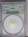 California Fractional Gold: , 1872/1 25C Indian Octagonal 25 Cents, BG-790, R.3, MS64 PCGS.Nicely mirrored fields with some faint milkiness and a light ...