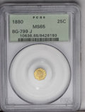 California Fractional Gold: , 1880 25C Indian Octagonal 25 Cents, BG-799J, R.3, MS65 PCGS.Luminous honey-gold fields are void of noticeable marks. Only ...