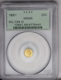 California Fractional Gold: , 1881 25C Indian Octagonal 25 Cents, BG-799O, Low R.4, MS65 PCGS. Aprooflike Gem, this piece shows bright yellow-gold color...