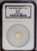 California Fractional Gold: , 1863 25C Liberty Round 25 Cents, BG-820, R.5, MS61 NGC. Fullylustrous with reflective yellow surfaces, although extremely ...
