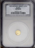 California Fractional Gold: , 1874 25C Liberty Round 25 Cents, BG-843, High R.6--Genuine--NCS (AUDetails, Scratched, Bent). A wavy and lightly hairlined...