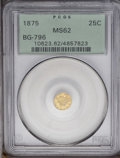 California Fractional Gold: , 1875 25C Indian Round 25 Cents, BG-847, R.4, MS62 PCGS.Misattributed by PCGS as BG-796. Peach and yellow-gold tintsaltern...