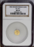 California Fractional Gold: , 1852 25C Indian Round 25 Cents, BG-891, Low R.5, MS65 NGC. This isa gorgeous Gem example. The reverse is rotated past 90 d...