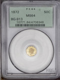 California Fractional Gold: , 1872 50C Liberty Octagonal 50 Cents, BG-913, R.4, MS64 PCGS. One ofFrontier & Bellemere's undated, stock reverses. The obv...