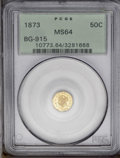 California Fractional Gold: , 1873 50C Liberty Octagonal 50 Cents, BG-915, Low R.4, MS64 PCGS.The Baby Head motif, Liberty has a flat profile and her mo...
