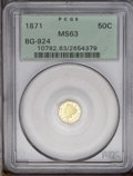 California Fractional Gold: , 1871 50C Liberty Octagonal 50 Cents, BG-924, R.3, MS63 PCGS. Peachand pale gold tints embrace smooth, unblemished surfaces...