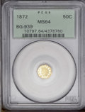 California Fractional Gold: , 1872 50C Indian Octagonal 50 Cents, BG-939, Low R.5, MS64 PCGS.Several of the stars are recut, and the date appears to hav...