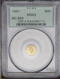 California Fractional Gold: , 1881 50C Indian Octagonal 50 Cents, BG-956, High R.4, MS63 PCGS.Each side is deeply mirrored and highly reflective, and th...