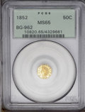 California Fractional Gold: , 1852 50C Indian Octagonal 50 Cents, BG-962, Low R.7, MS65 PCGS.Bright and prooflike, with lovely, green-gold colorations. ...
