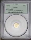 California Fractional Gold: , 1865 50C Liberty Round 50 Cents, BG-1005, Low R.5, MS63 PCGS. Lightlemon toning graces this prominently mirrored and typic...