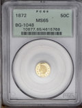 California Fractional Gold: , 1872 50C Indian Round 50 Cents, BG-1048, Low R.4, MS65 PCGS. Thesmall stars variant of the 1872 Indian round half dollar. ...