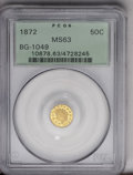 California Fractional Gold: , 1872 50C Indian Round 50 Cents, BG-1049, R.4, MS63 PCGS. The LargeStars variety of the 1872-dated round Indian half dollar...