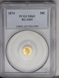 California Fractional Gold: , 1874 50C Indian Round 50 Cents, BG-1055, R.5, MS 63 PCGS. Mottledhaziness partially obscures the reflective finish of this...