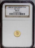 California Fractional Gold: , 1880/70 50C Indian Round 50 Cents, BG-1067, Low R.4, MS64 NGC.State I with the overdate elements fully visible. This is an...