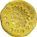 California Fractional Gold: , 1876/5 $1 Indian Octagonal 1 Dollar, BG-1129, R.4 MS63 NGC. Struckfrom the same dies as BG-1127 and BG-1128, but modified ...