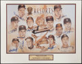 Baseball Collectibles:Photos, Gold Glove Club Multi Signed Lithograph....