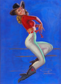 Pin-up and Glamour Art, EARL MACPHERSON (American, 1910-1993). All-American Cowgirl.Pastel on board. 40 x 30 in.. Signed lower right. ...