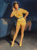 """Pin-up and Glamour Art, WILLIAM MEDCALF (American, 20th Century). Victor """"Vicki"""" Girl,advertisement. Oil on board. 40 x 30 in.. Signed lower le..."""