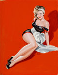 Paintings, PETER DRIBEN (American, 1902-1968). Pin-Up in White Bow, Beauty Parade magazine cover, December 1948. Oil on board. 35 x...