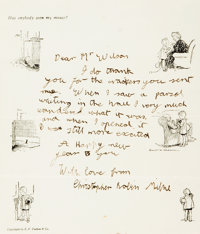 Christopher Robin Milne. Autograph Letter Signed. [n.d.]. Thank you letter on personal illustrated stationary, writte
