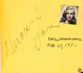 Movie/TV Memorabilia:Autographs and Signed Items, A Veronica Lake, Liberace, Frank Sinatra, and Others SignedAutograph Book, 1951....