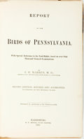 Books:Natural History Books & Prints, B.H. Warren. Report on the Birds of Pennsylvania. Harrisburg: E.K. Meyers, 1890. Second edition. Illustrated by 100 ...