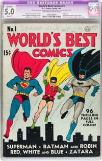 World's Best Comics #1 (DC, 1941) CGC Apparent VG/FN 5.0 Slight (P) Off-white to white pages