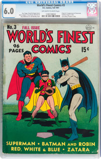 World's Finest Comics #3 (DC, 1941) CGC FN 6.0 Off-white to white pages