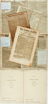 [Newspapers]. Group of Nine Antique British Newspapers. 1665-1778. Some foxing, toning and creasing. Very good