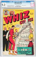 Golden Age (1938-1955):Superhero, Whiz Comics #100 (Fawcett Publications, 1948) CGC NM- 9.2 Off-white to white pages....