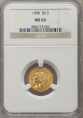 Indian Quarter Eagles: , 1908 $2 1/2 MS63 NGC. NGC Census: (1446/1813). PCGS Population(1458/1849). Mintage: 564,800. Numismedia Wsl. Price for pro...