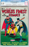 Golden Age (1938-1955):Superhero, World's Finest Comics #3 (DC, 1941) CGC VG/FN 5.0 Off-white to white pages....